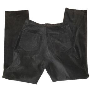 Black Suede Leather Pants Rafaella Size 6
